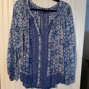 Lucky Brand blue floral blouse!